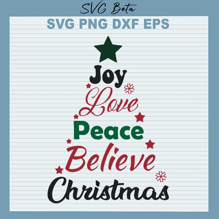 Download Peace love joy christmas tree SVG cut file for craft and ...