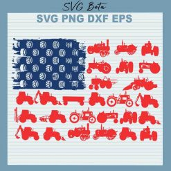 American flag farm tractor