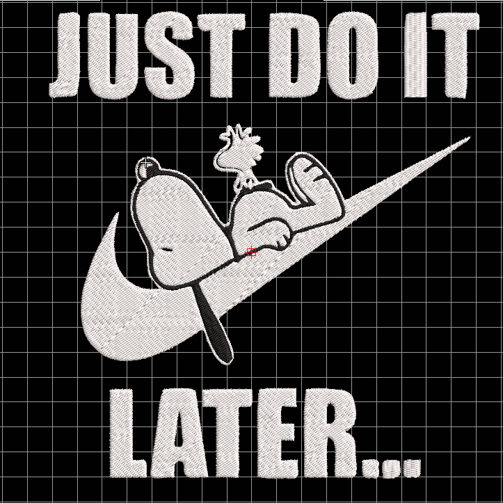 Snoopy just do it embroidery design