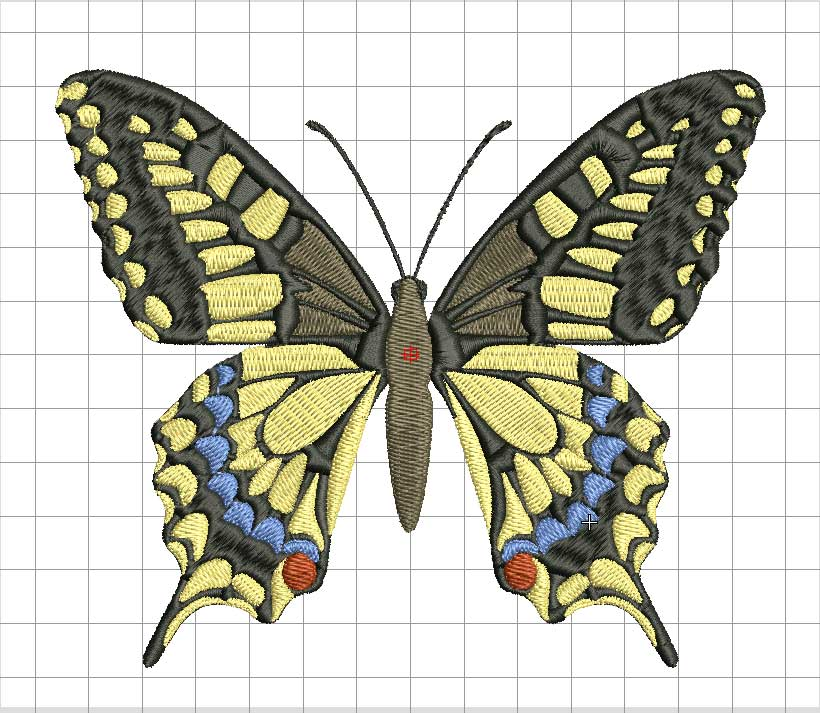 Bufterfly color Embroidered design